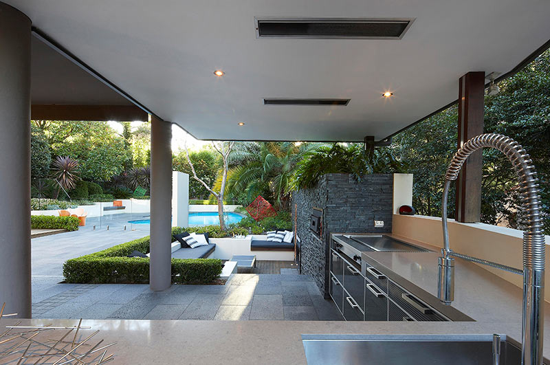 Outdoor living with sunken lounge kitchen food Home plans with outdoor living