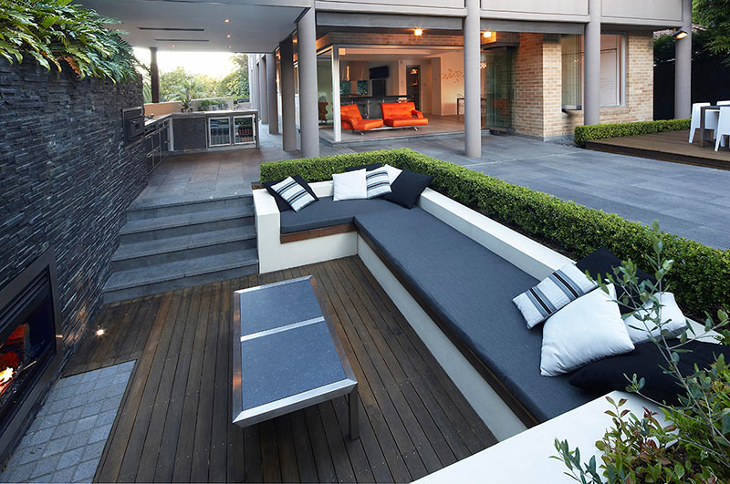 outdoor living with sunken lounge views to main living