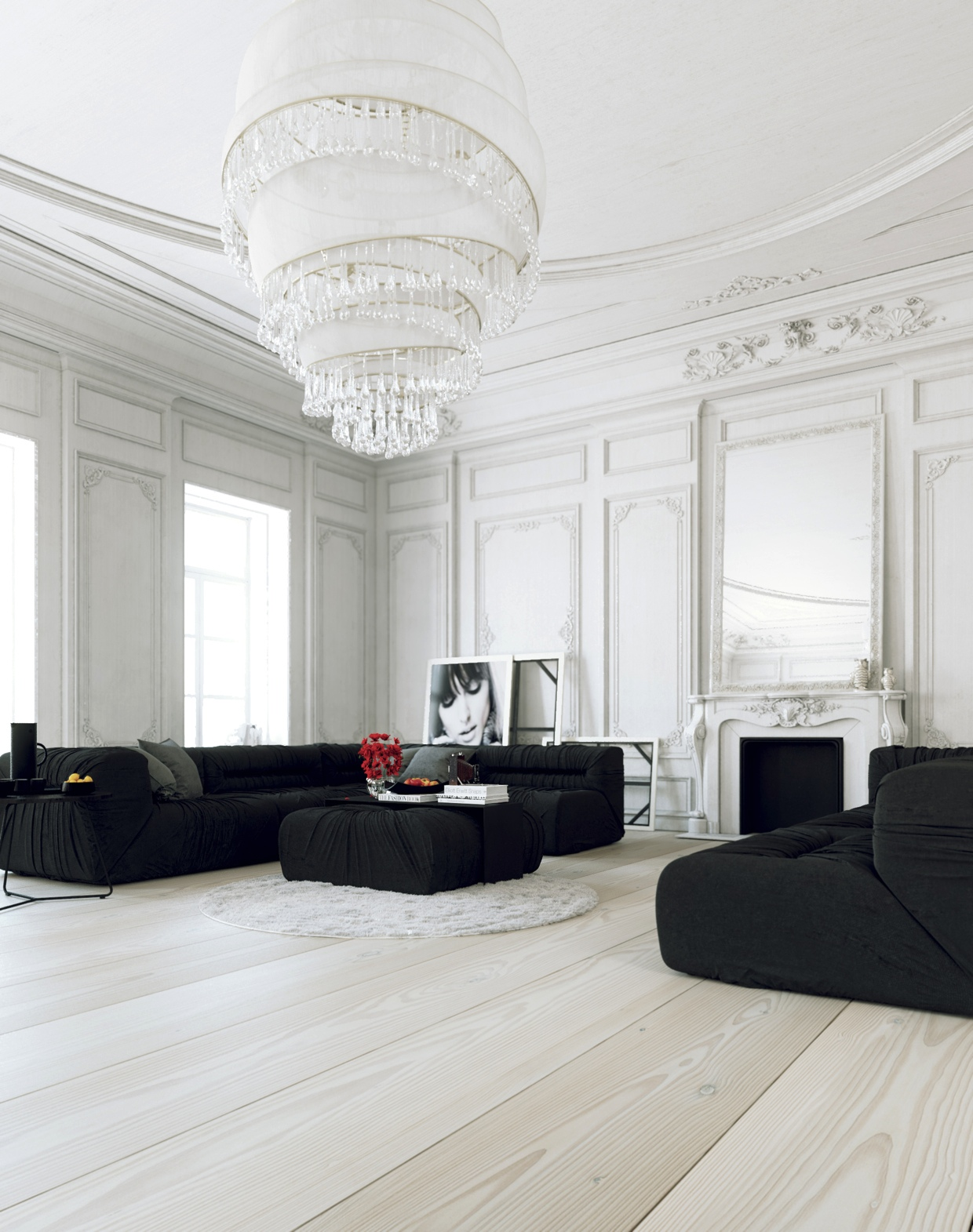 parisian apartment living with large white chandelier and black