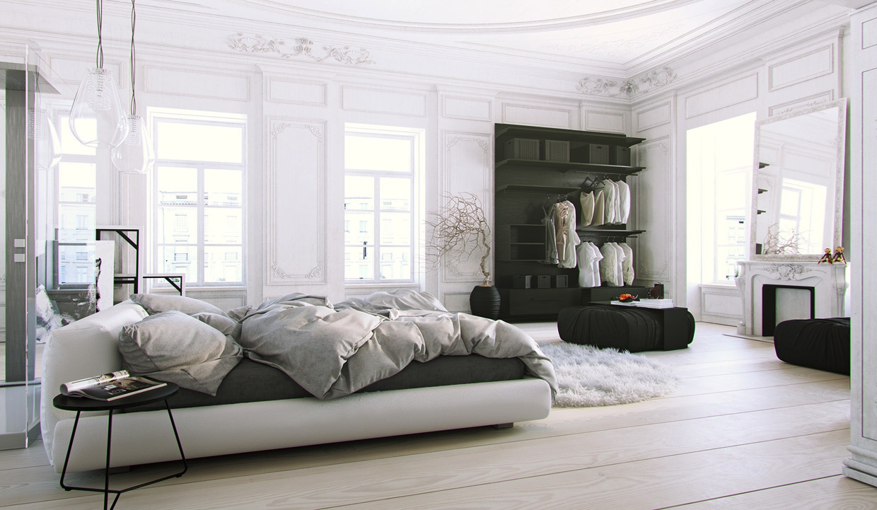 Scandinavian parisian apartments in white for Black and white modern bedroom ideas
