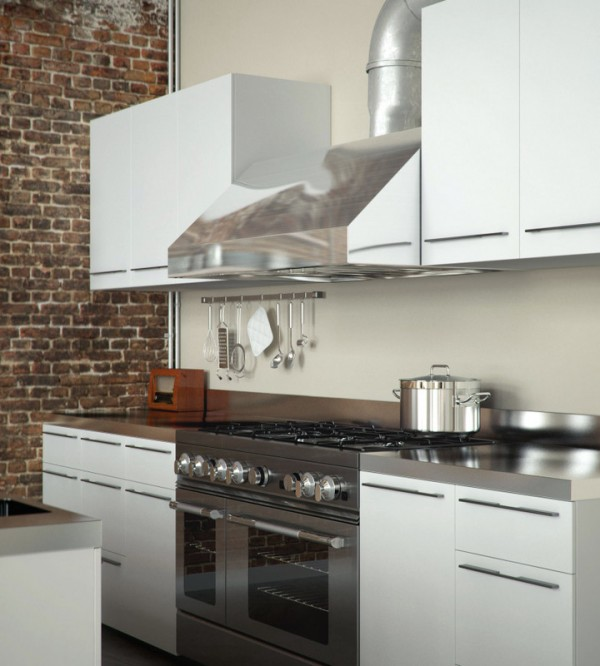 Perserverence Design- cool palette gas kitchen with brick wall and exposed range