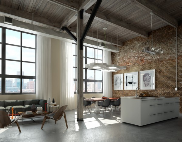 Brick Wall Studio Apartment Inspiration