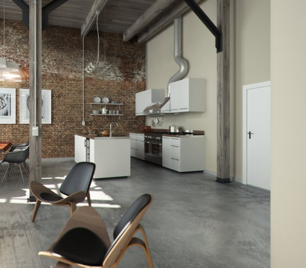 Perserverence Design- cool palette open plan kitchen dining with brick wall and concrete floor