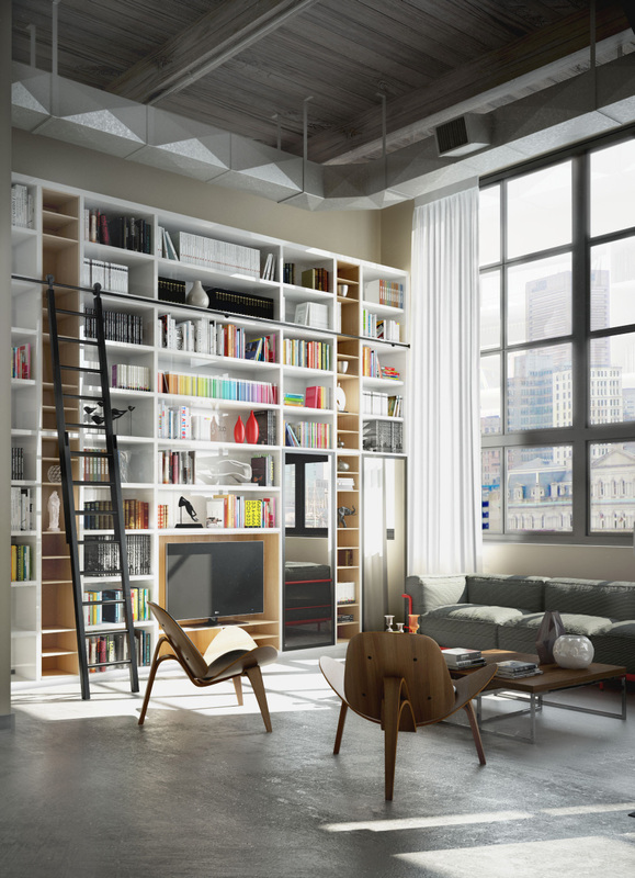 Perserverence Design- cool palette with bright accents in storage: library with concrete floor and high ceilings