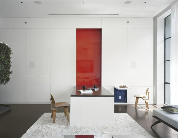 Pulltab Design- high gloss white office with featured red pannel