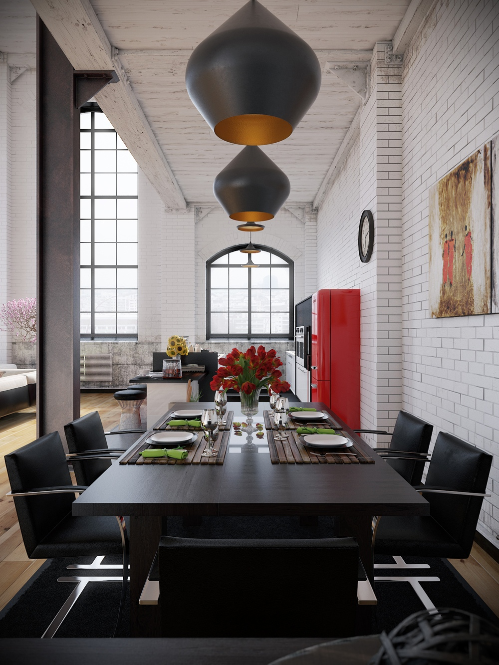 Industrial loft with organic traits visualized for Photo salon moderne