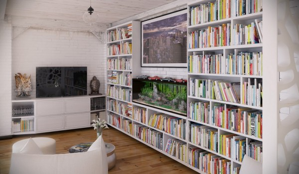 RIP3D Industrial Loft- entertainment area library with multicolored books in white shelves