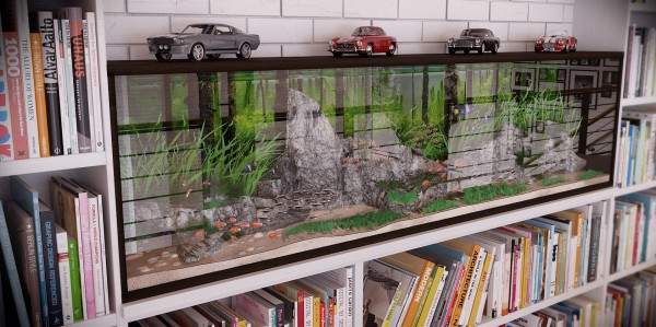 RIP3D Industrial Loft- quirky fish tank styled with vintage cars set in library