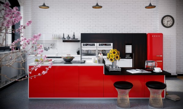 RIP3D Industrial Loft- red monochrome kitchen on brick background with pendant lighting