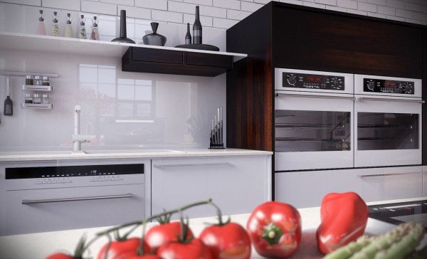 RIP3D Industrial Loft- white kitchen with high gloss splash back styled still life vegetables