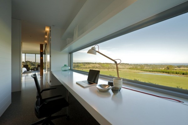 SJB Architects- white workspace with long desk and panoramic views