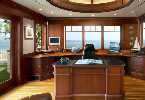 SV Design- wood clad workspace with nautical views