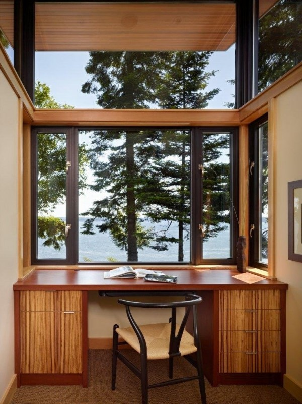 SV Design- wooden workspace with treeline views