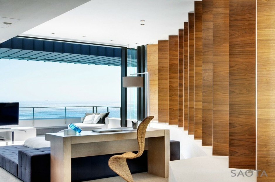 Beautiful Home Design With Modern Vintage Interior Ocean View Saota Wood Panelled Office With Ocean Views Interior Design Ideas