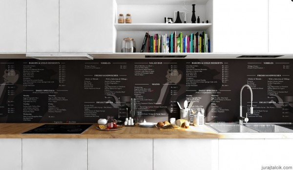 Scandinavian Apartment- monochrome printed splashback and cookbook nieches