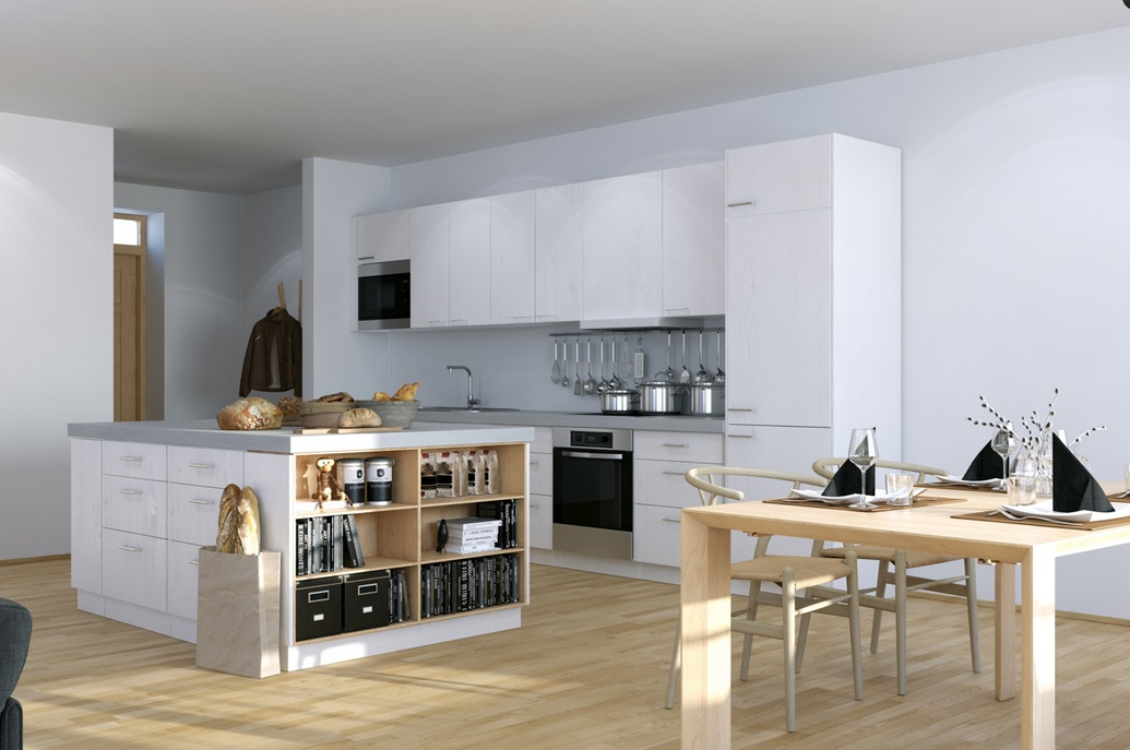 Scandinavian Studio Apartment – kitchen with open plan dining and