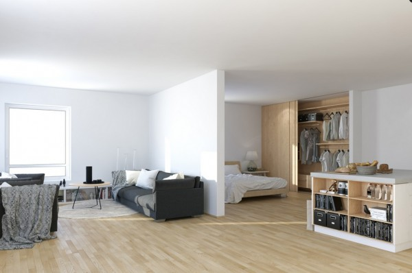 Scandinavian Studio Apartment - open plan partitioned bedroom living with storage island