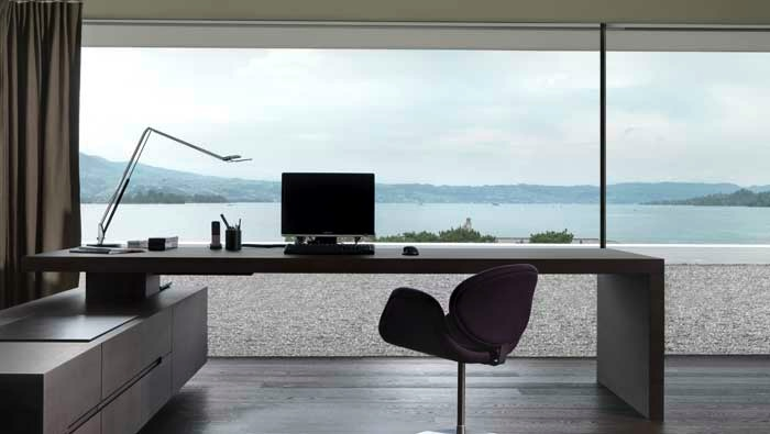 Swiss fine line minimalist workspace with ocean views for Modern minimalist office design