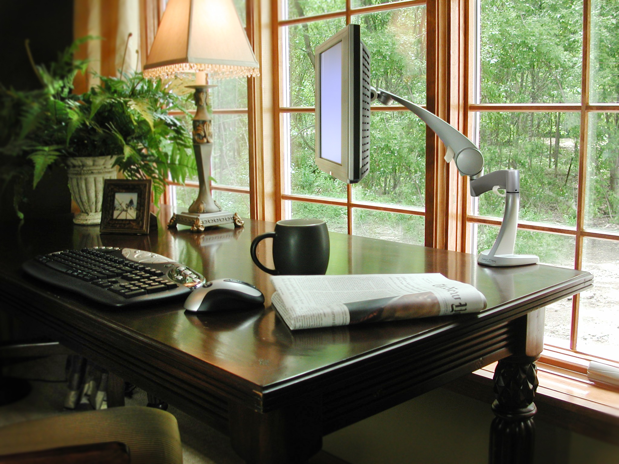 Team 7- blonde wood framed windows in home office with contrasting ...