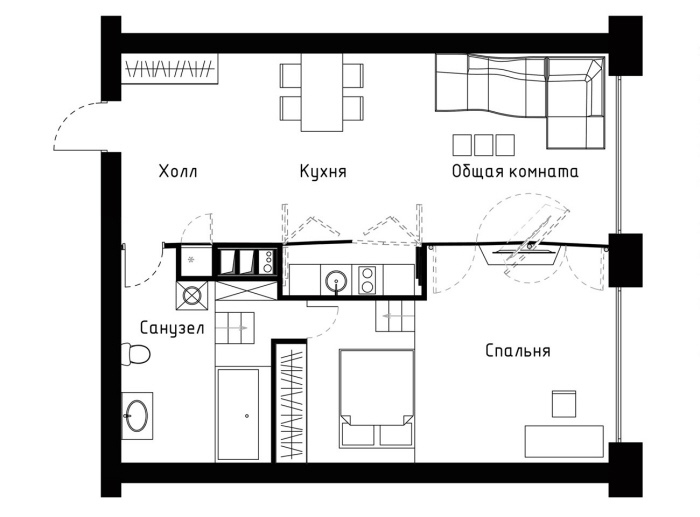 Transformer apartment floor plan 60 sqm 1 bedroom for 60s apartment design