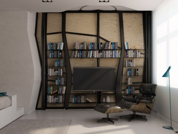 Transformer Apartment- TV entertainment niche built into partition with multimedia storage