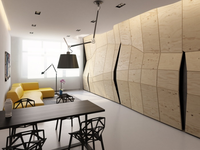 Transformer Apartment Plywood Partition Concealed Closed