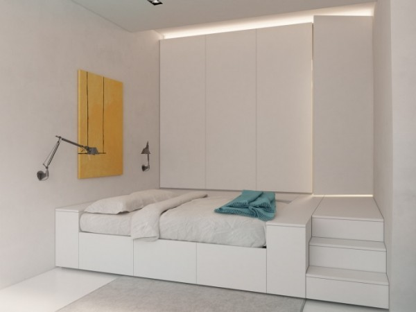 The bed nook, complete with storage is built into the space and takes its cues from the living area with its blue accented white and yellow palette, and to a lesser extent, influences the subtle styling of the workspace.
