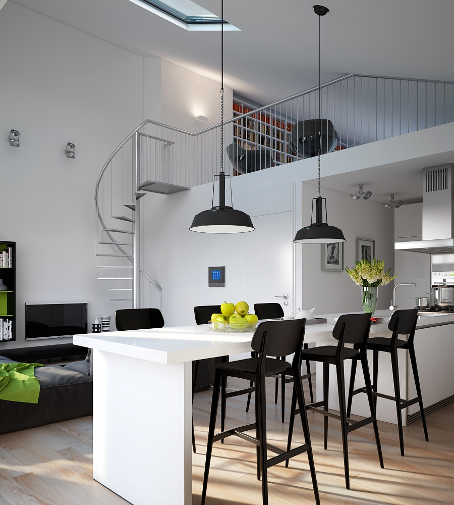 Triple d modern monochrome green apartment kitchen dining for Modern small flat interior design