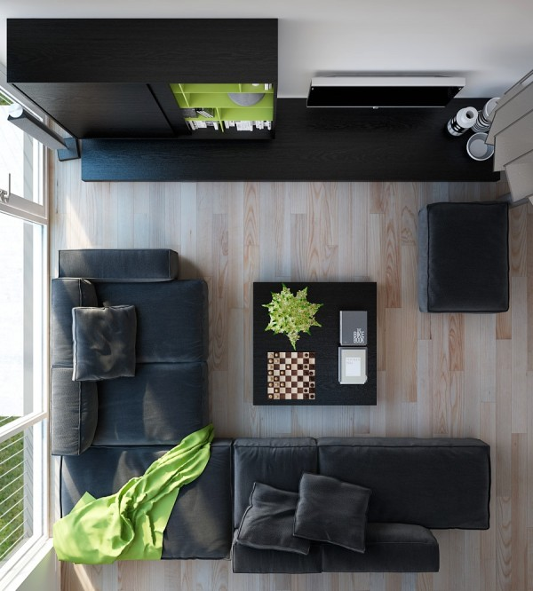 Triple D- Modern Monochrome Green Apartment leather living wood flooring