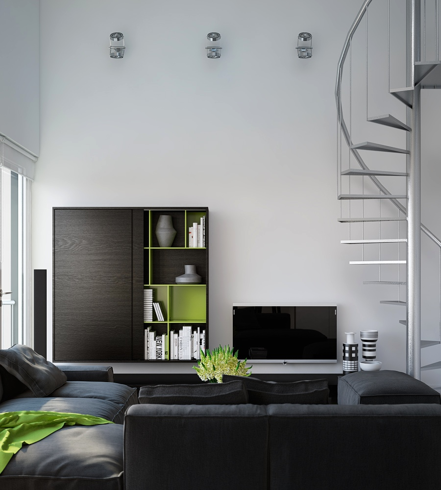 Triple d modern monochrome green apartment living modular for Monochrome interior design ideas