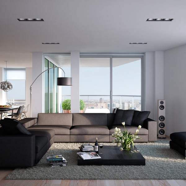 Triple D- Modern White, Stone and Blonde Wood Apartment living with lowset coffee table and views