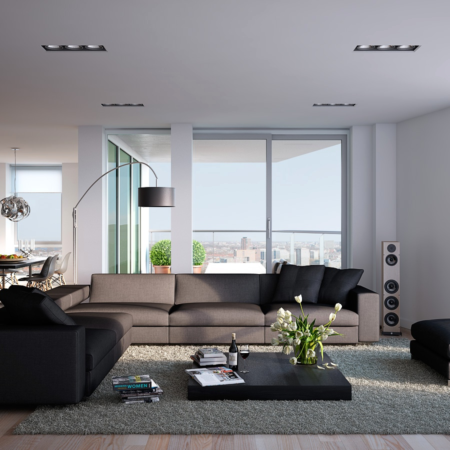 Visualizations of modern apartments that inspire for Modern apartment living room design