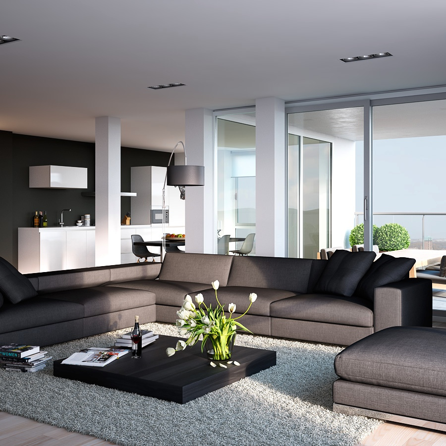 Modern Living Rooms: Visualizations Of Modern Apartments That Inspire