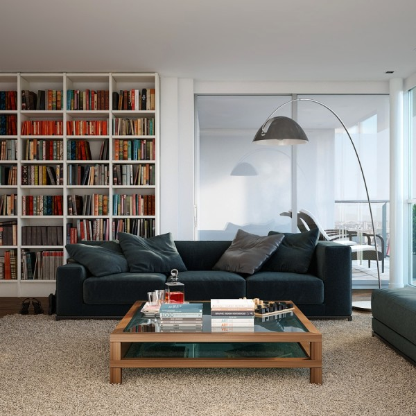 This space is defined by its dimensions in more than the literal sense. Once again, a preference for cubic storage is evident in shelving and this choice is a reflection of the space itself: the overarching floor lamp, the only element that stands in contrast to an indisputably angular approach to composition.