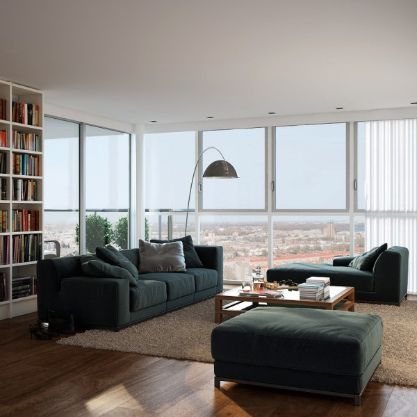 Triple D- White Apartment with Medium grain Wood Flooring and Terrace lounge with library and views