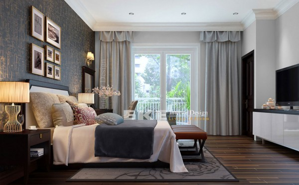 Tuananh Eke's dark wood floors heavily styled modern bedroom with textural feature wall