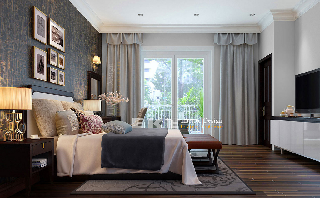 Tuananh eke s dark wood floors heavily styled modern for Bedroom ideas dark wood floor