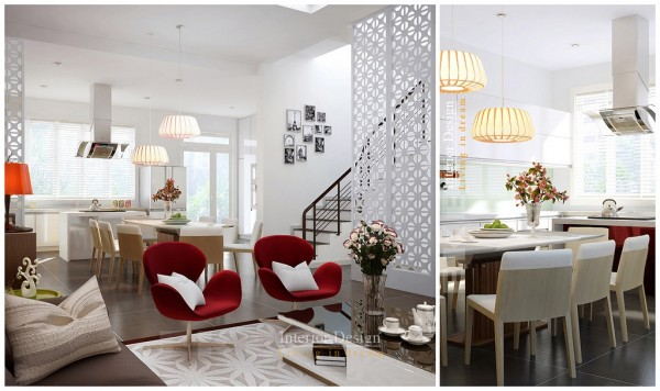 Tuananh Eke's kitchen dining and red accented living double feature with hanging basket pendant lights