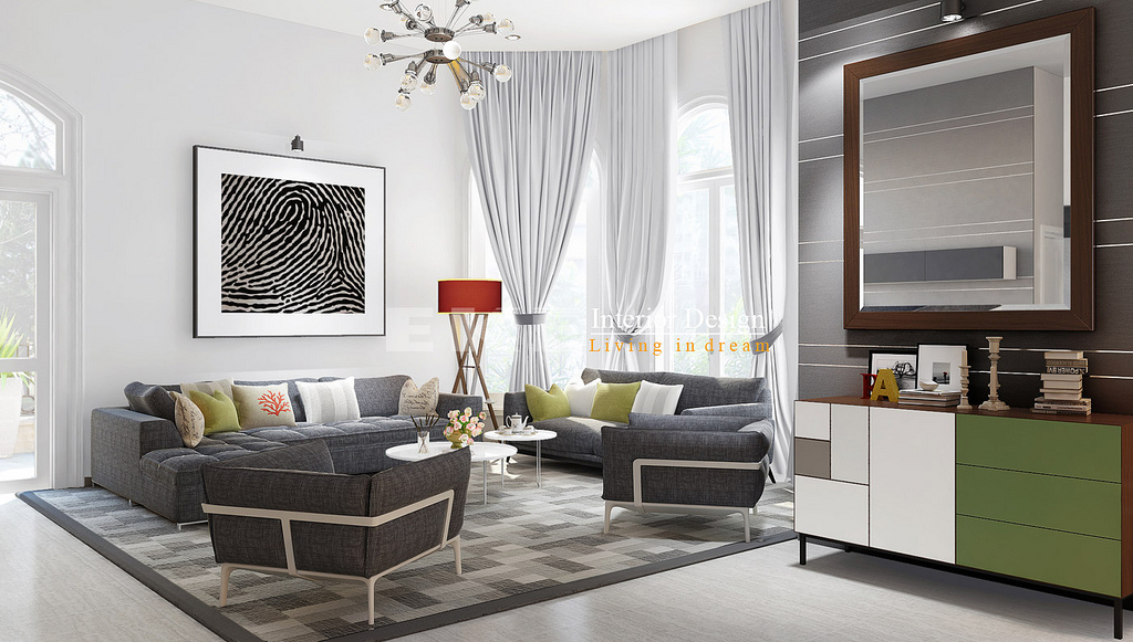 Tuananh eke s modern living in a silver grey palette with for Eke interior design