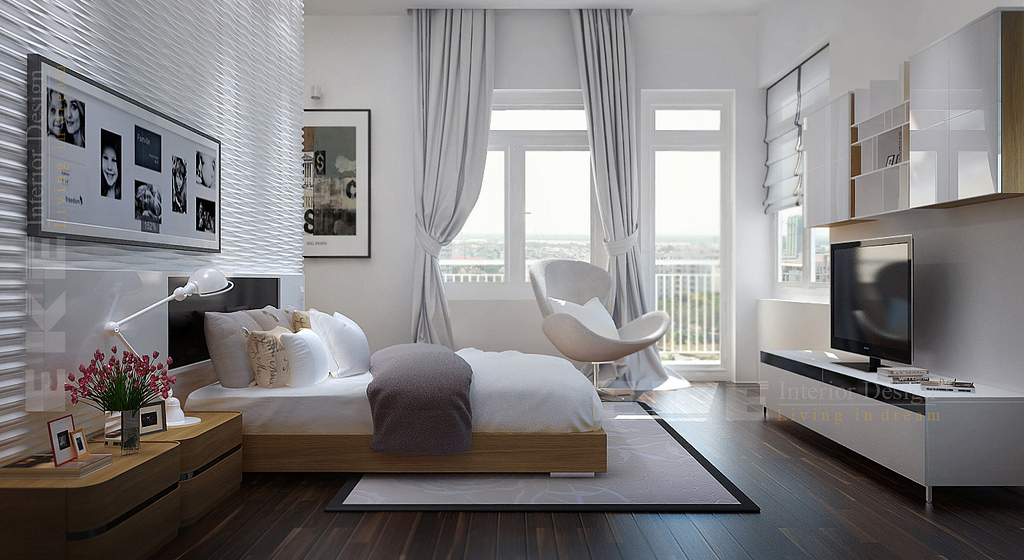 Tuananh Eke S Modern White Bedroom With Heavy Silver Window Treatments And En