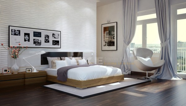 Tuananh Eke's modern white bedroom with heavy silver window treatments textural feature wall and wooden flooring