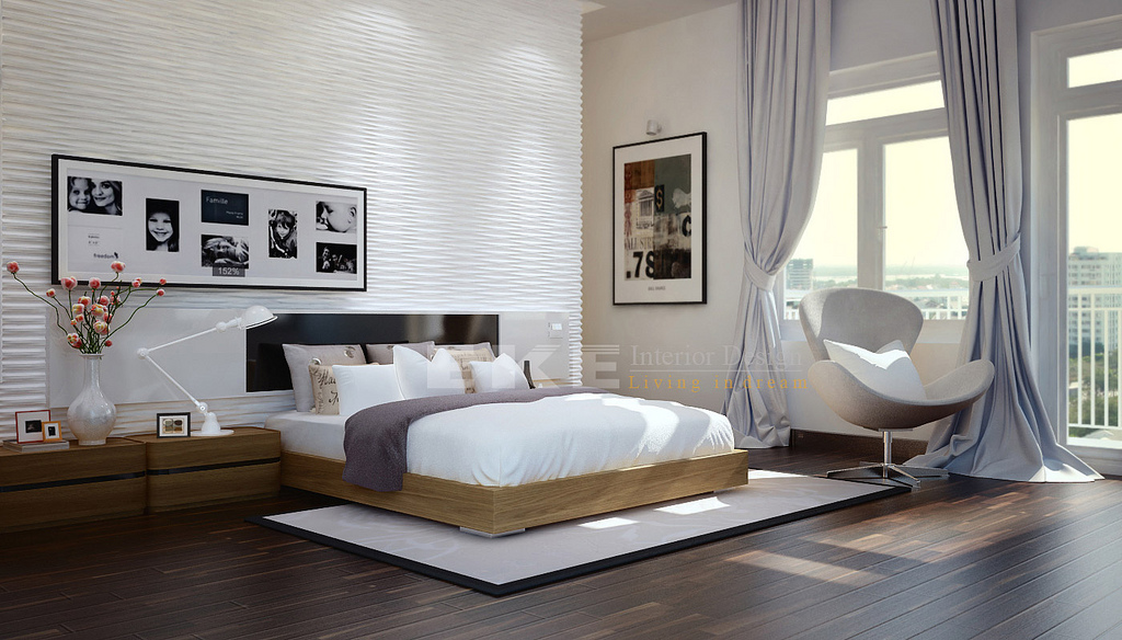 Tuananh Eke S Modern White Bedroom With Heavy Silver Window Treatments Textur