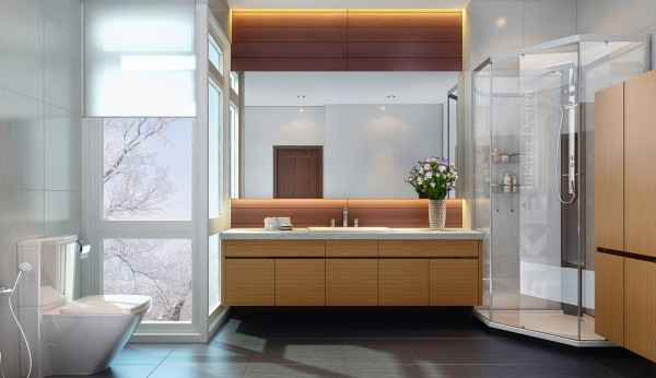 Tuananh Eke's wood clad bathroom cabinetry with corner shower and large elemental tiles