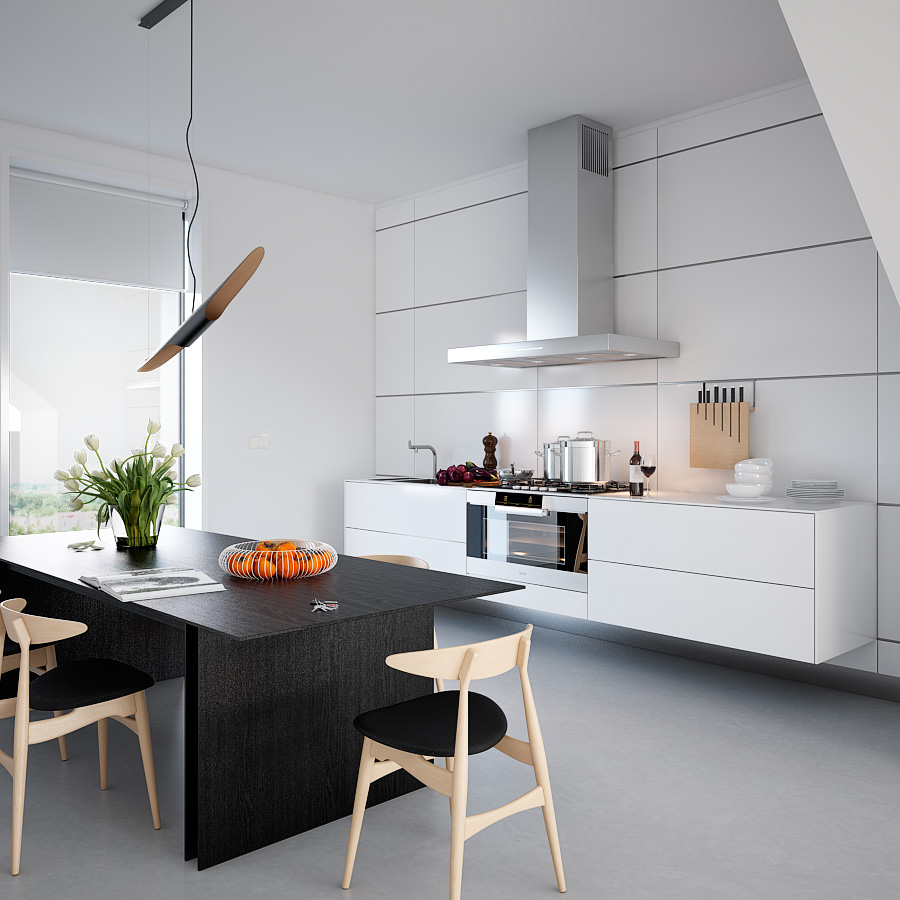 White symmetrical kitchen darkest wood dining table and contrasting