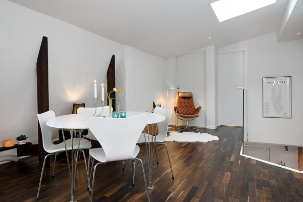 f Urban Apartment with Terrrace- white casual dining on dark hardwood floors