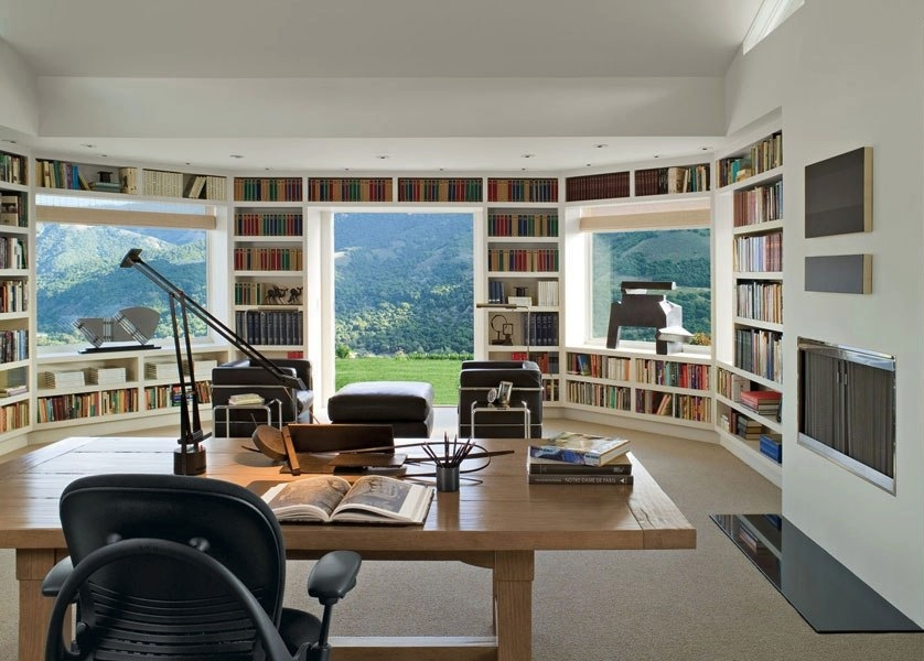 In Built Library Walled Workspace With Mountain Views