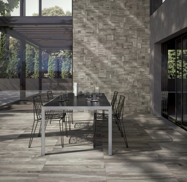 light grey wooden floor and wall tiles outdoor space