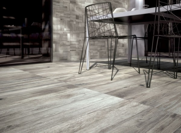 light grey wooden floor and wall tiles outdoor space closeup