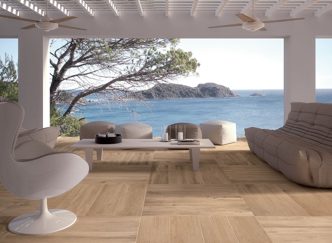 Wood look tiles for Outdoor timber flooring