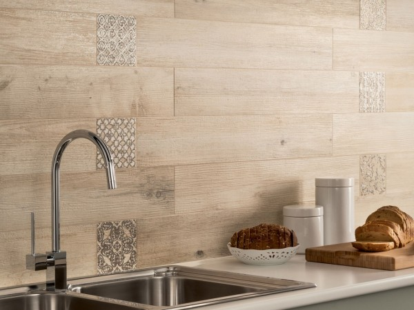 light wooden tiled kitchen splashback closeup